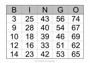 Bingo schein drucken