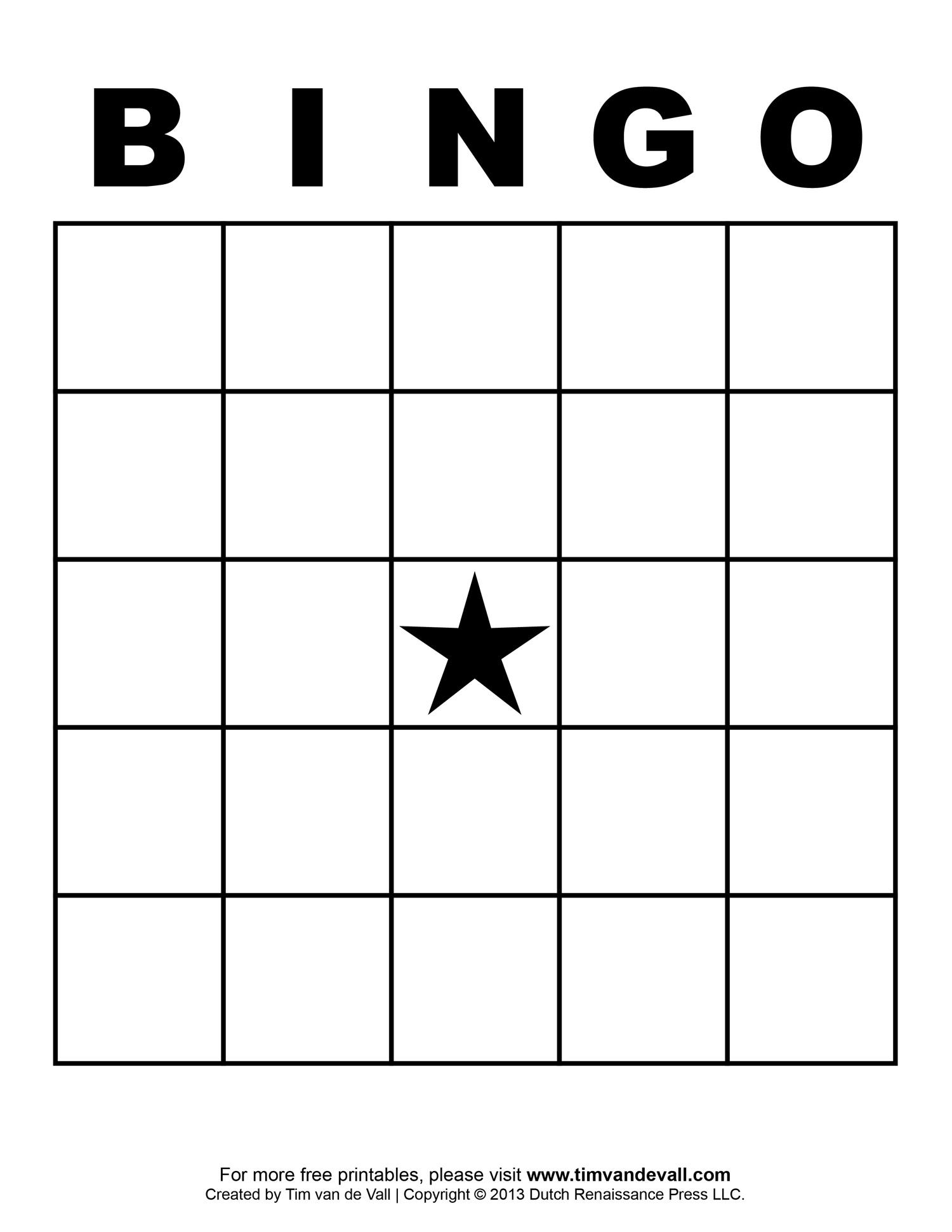 5x5 bingo board