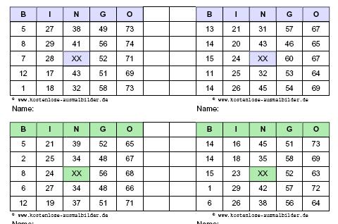 bingo karten vorlagen